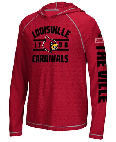 adidas Men's Louisville Cardinals Schooled Long Sleeve Hooded T-Shirt