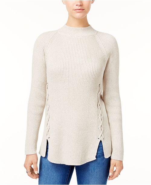 d75efc47c ... Style   Co Petite Mock-Neck Lace-Up Sweater