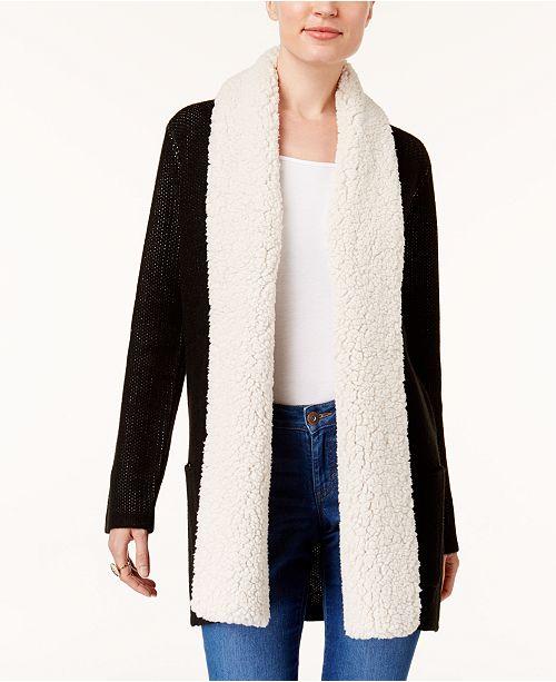7cd65cde2ae ... Style   Co Petite Fleece-Collar Cardigan