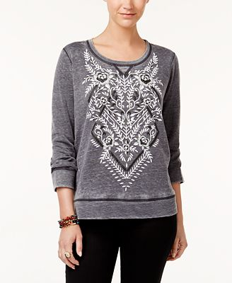 Style & Co Petite Patterned Sweatshirt, Created for Macy's