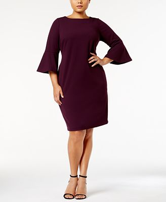 calvin klein plus size bell-sleeve sheath dress - dresses - women