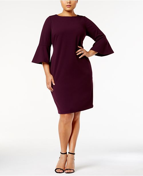 a245e7bb658 Calvin Klein Plus Size Bell-Sleeve Sheath Dress   Reviews - Dresses ...