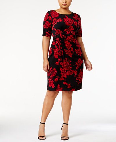 Connected Plus Size Printed Faux-Wrap Dress