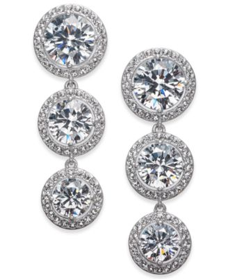Silver-Tone Crystal Halo Linear Drop Earrings, Created for Macy's