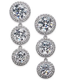 Danori Silver-Tone Crystal Halo Linear Drop Earrings, Created for Macy's