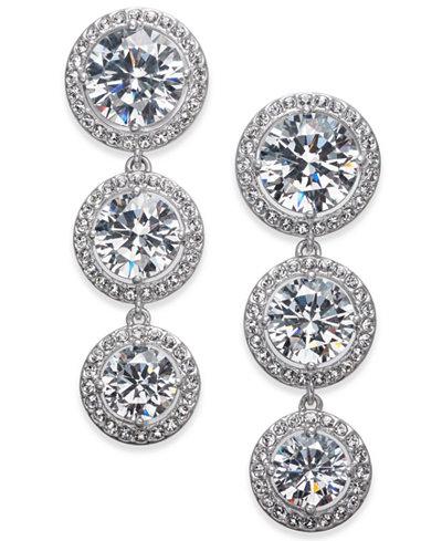 Danori Silver-Tone Crystal Halo Linear Drop Earrings, Created for Macy's