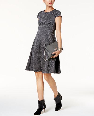 Alfani Metallic Fit & Flare Dress, Created for Macy's