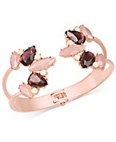 I.N.C. Rose Gold-Tone Colored Crystal Hinged Cuff Bracelet, Created for Macy's