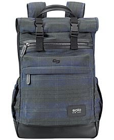 Men's Highland Waxed-Cotton Printed Roll-Top Backpack