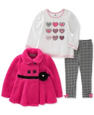 Kids Headquarters 3Pc FauxFur Jacket Printed TShirt  Houndstooth Leggings Set Baby Girls (024 months)