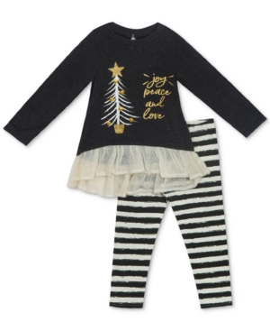 Rare Editions 2Pc Knit Holiday Tunic  Striped Leggings Set Baby Girls (024 months)