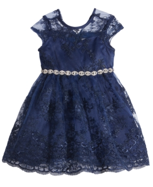 Rare Editions EmbellishedWaist Lace Fit  Flare Dress Baby Girls (024 months)