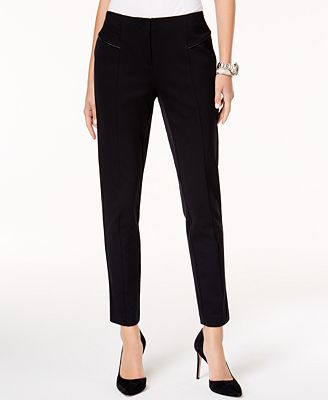 Alfani Faux-Leather-Trim Straight-Leg Pants, Created for Macy's