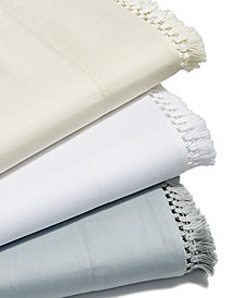Lucky Brand Cotton Sateen 230-Thread Count Fringe Sheet Set Collection, Created for Macy's