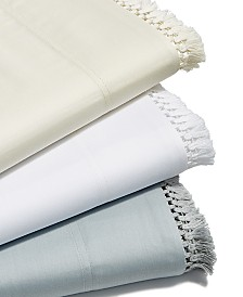 CLOSEOUT! Lucky Brand Cotton Sateen 230-Thread Count Fringe Sheet Set Collection, Created for Macy's