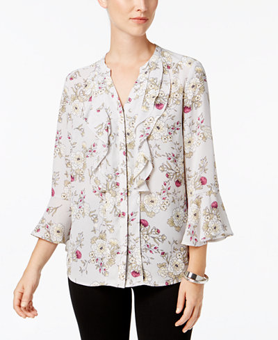 Charter Club Petite Ruffled Split-Neck Top, Created for Macy's