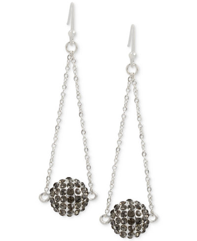 Touch of Silver Pavé Ball Chandelier Earrings in Silver-Plate