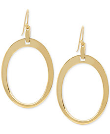 Hint of Gold Oval Gypsy Hoop Earrings in Gold-Plate