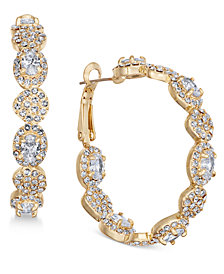 Joan Boyce Gold-Tone Crystal Scalloped Hoop Earrings
