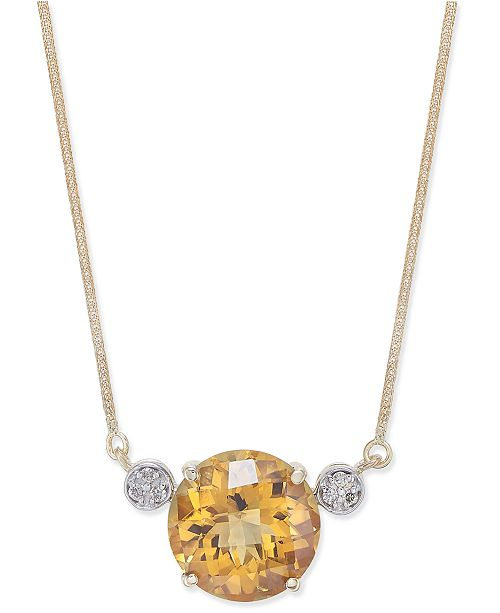 Macy's Citrine (7-3/8 ct. t.w.) & Diamond Accent Pendant Necklace in 14k Gold