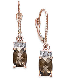 Smoky Quartz (1-9/10 ct. t.w.) & Diamond Accent Drop Earrings in 14k Rose Gold