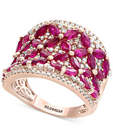 Amoré by EFFY® Certified Ruby (3 ct. t.w.) & Diamond (7/8 ct. t.w.) in 14k Rose Gold
