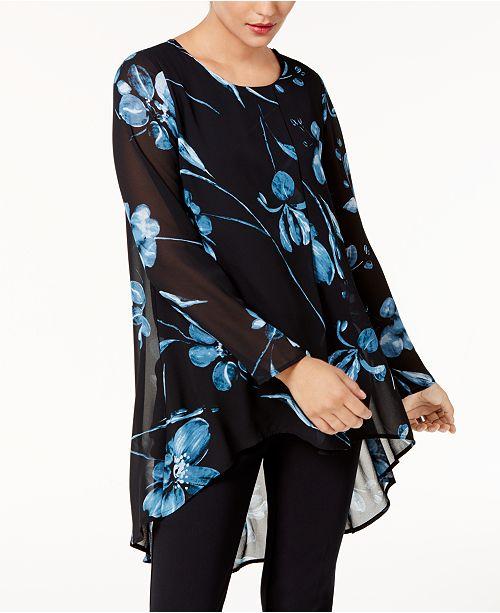 Alfani Printed Chiffon High-Low Tunic, Created for Macy's
