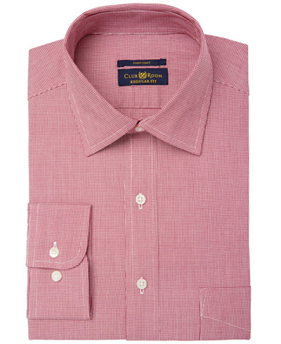 Club Room Men's Big & Tall Regular Fit Pinpoint Houndstooth Dress Shirt, Created for Macy's