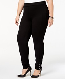Style & Co Plus Size Ponté Knit Snap-Bottom Leggings, Created for Macy's