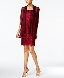 R & M Richards Petite Lace Dress and Draped Jacket