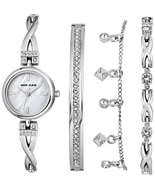 Anne Klein Women's Silver-Tone Bangle Bracelet Watch 22mm Gift Set