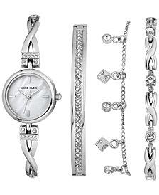 Anne Klein Women's Silver-Tone Bangle Bracelet Watch 22mm Gift Set
