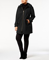 79d21512525b MICHAEL Michael Kors Plus Size Hooded Walker Coat