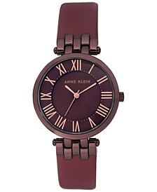 Women's Burgundy Leather Strap Watch 34mm