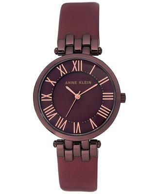 Anne klein women 39 s burgundy leather strap watch 34mm watches jewelry watches macy 39 s for Anne klein leather strap