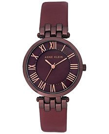 Anne Klein Women's Burgundy Leather Strap Watch 34mm