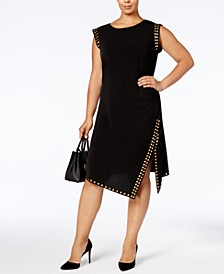 Plus Size Studded Asymmetrical-Hem Dress