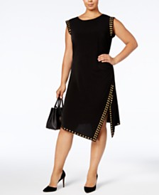MICHAEL Michael Kors Plus Size Studded Asymmetrical-Hem Dress