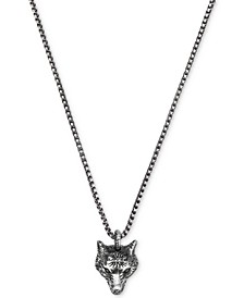 Men's Anger Forest Wolf Head Pendant Necklace in Sterling Silver & Auerco Black Finish