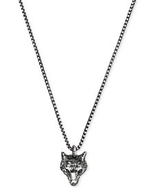 Gucci Men's Anger Forest Wolf Head Pendant Necklace in Sterling Silver & Auerco Black Finish YBB47693000100U