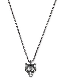 Gucci Men's Anger Forest Wolf Head Pendant Necklace in Sterling Silver & Auerco Black Finish