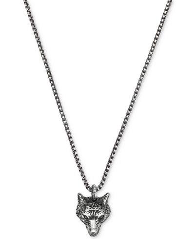 Gucci mens anger forest wolf head pendant necklace in sterling gucci mens anger forest wolf head pendant necklace in sterling silver auerco black finish ybb47693000100u aloadofball Gallery