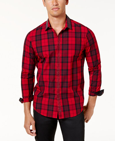 I n c men 39 s beaded trim plaid shirt created for macy 39 s for Mens casual plaid shirts