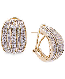 Wrapped in Love™ Diamond Hoop Earrings (2 ct. t.w.) in 14k Gold, Created for Macy's