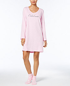 Charter Club Graphic-Print Cotton Sleepshirt with Matching Socks, Created for Macy's
