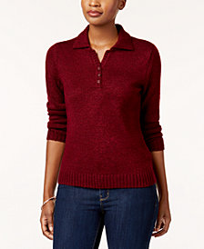 Karen Scott Petite Point-Collar Marled Sweater, Created for Macy's
