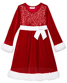 Bonnie Jean Sequin Santa Dress, Big Girls (7-16)
