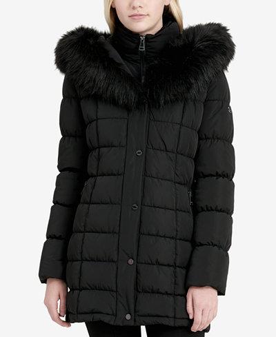 Calvin Klein Faux-Fur-Trim Layered Puffer Coat
