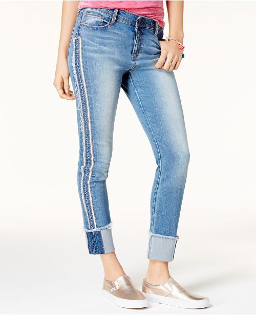 Black Daisy Juniors' Kate Cuffed Straight-Leg Jeans