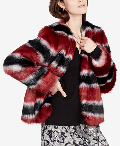 RACHEL Rachel Roy Striped Faux-Fur Jacket, Created for Macy's